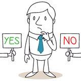 pondering-businessman-choosing-betweeen-yes-no-38102211